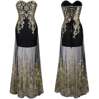 Angel-fashions Women Strapless Embroidery Sheer Masquerade Cocktail Dress 189