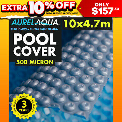 AURELAQUA 10x4.7M Solar Swimming Pool Cover 400 Micron Heater Bubble Blanket