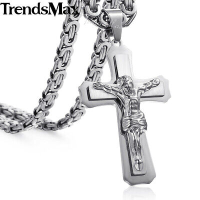 Hot Stainless Steel Pendant Necklace Men Chain Silver Gold Cross Jesus Byzantine
