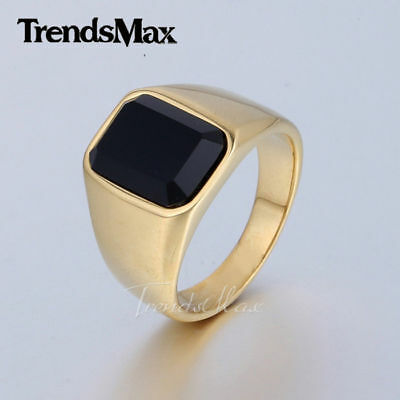 Mens Black Square CZ Cubic Zirconia Gold Tone 316L Stainless steel Signet Ring