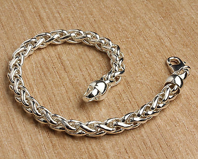Mens Silver Braided Curb Bracelet Solid Sterling Silver Hallmarked Pouch And Box