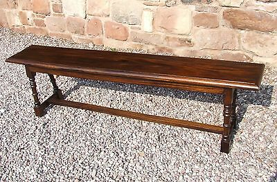 Antique Style SOLID Fruitwood Oak Colour Long Bench / Seat : Over 6 ft long