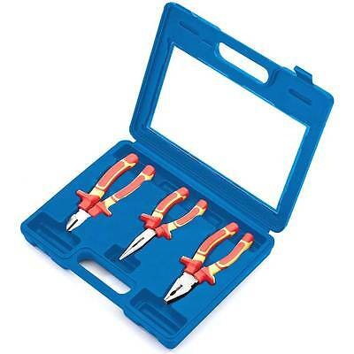 3Pc Draper Insulated Electrician Vde Plier Set Combination Long Nose Cutters