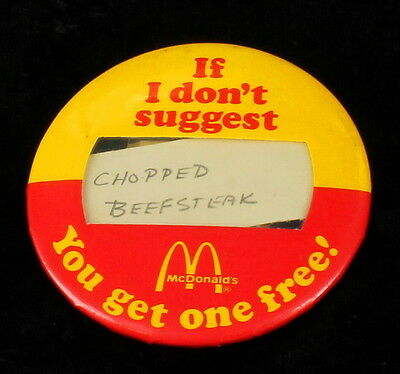 """Vintage 1982 McDonalds Advertising """"If I Don't Suggest.."""" Employee Pin Rare"""