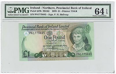 1979 Northern Ireland 1 One Pound Bank Note Bill - Pick# 247b - PMG UNC 64 EPQ