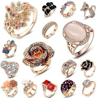 Womens Engagement Jewelry Gold Plated Rose Gold Wedding Diamond Ring 18K Ring