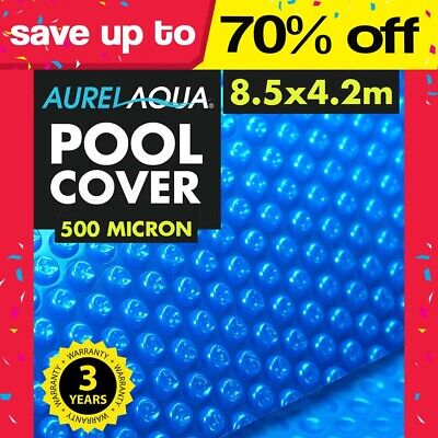 AURELAQUA Solar Swimming Pool Cover 400 Micron Heater Bubble Blanket 8.5x4.2m