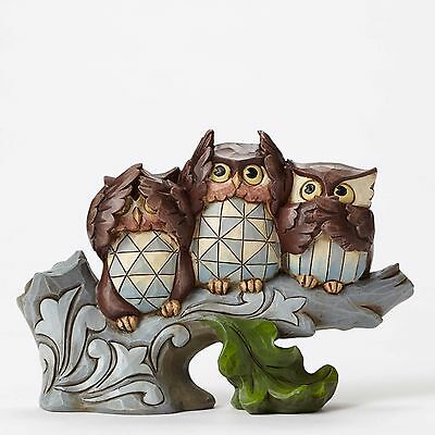 JIM SHORE Figurine OWL NO EVIL Statue Sculpture BIRD ON TREE Quilted Folk Art