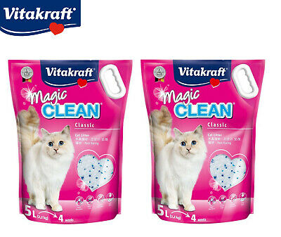 Magic Clean 2 X 5L Cat Kitten Litter Silicone Crystal Antibacterial Odour 4.4Kg