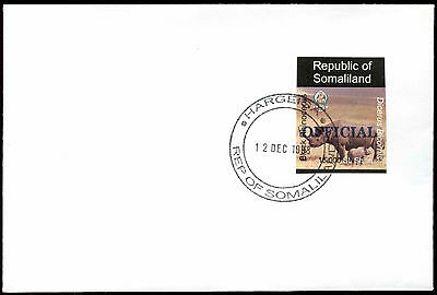 Somaliland 1998 Rhinocerus Official Imperf Blue Overprint Cover #C33742