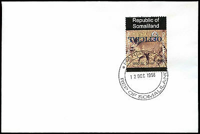 Somaliland 1998 Bat-Eared Fox Official Imperf Blue Inverted Overprint #C33828
