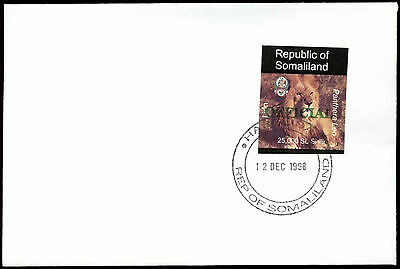 Somaliland 1998 Lion Official Imperf Green Overprint Cover #C33750