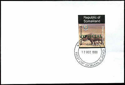 Somaliland 1998 Rhinocerus Official Imperf Green Overprint Cover #C33741