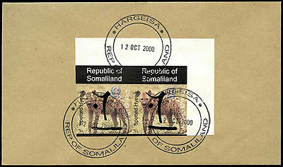 Somaliland 2000 Hyena Imperf Pair Hand Overprint Cover #C33853