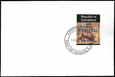 Somaliland 1998 Warthog, Air Mail Official Imperf BLue Overprint, Cover #C33728