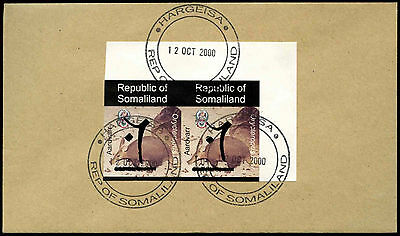 Somaliland 2000 Aardvark Imperf Pair Hand Overprint Cover #C33854