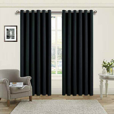 """Luxury Thermal Supersoft Blackout Curtains Black 65"""" x 54"""" (165cm x 137cm)"""