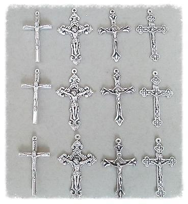 Lot 12 Crucifixes Cross ONLY Rosary Rosaries Italian ITALY Parts finish SILVER