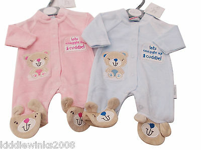 BNWT Tiny Baby Premature Preemie Baby Lets snuggle up  velour sleepsuit Clothes