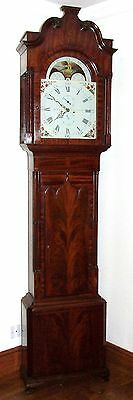 Antique Mahogany Rolling Moon Longcase Grandfather Clock JONES STOCKPORT