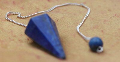 Lapis Lazuli faceted pendulum dowser on silver chain