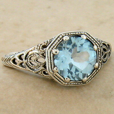 Genuine Sky Blue Topaz Art Deco Antique Style 925 Sterling Silver Ring,    #882