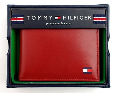 New Tommy Hilfiger Men's Leather Credit Card Wallet Passcase Bifold Red 4891-09