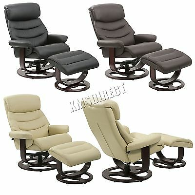 FoxHunter Executive Recliner PU Arm Chair Swivel Lounger Seat Foot Stool RCS04