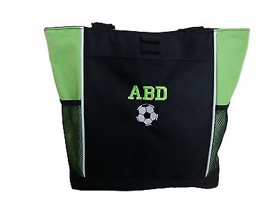TOTE BAG Personalized Zippered Sport Soccer Team Mom Embroidered Coach Gift
