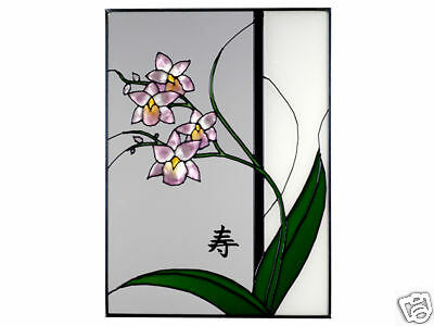 10x14 ASIAN ORCHID Floral Stained Art Glass Suncatcher