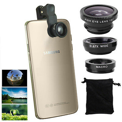 3in1 Fish Eye+Wide Angle+Macro Camera Clip-on Lens for Samsung Galaxy S8/S7 Edge