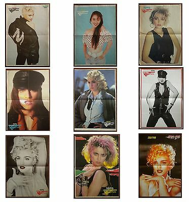 MADONNA LOT OF 9 RARE ISRAELI HEBREW 80's/90's PINUP POSTERS