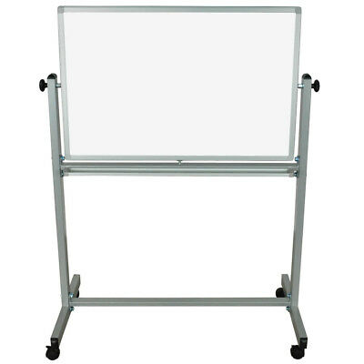 "Luxor MB3624WW Mobile Double Sided Magnetic Whiteboard in 36"" x 24"" Board-size"