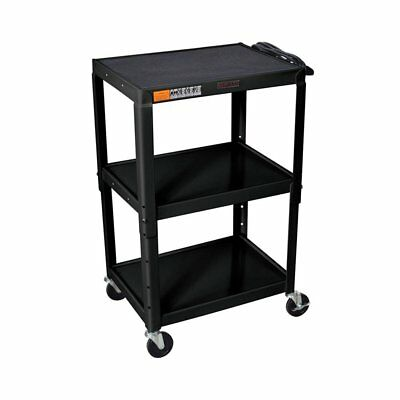 Luxor W42AE Adjustable Height Steel A/V Utility Cart with 3-Shelves in Black New