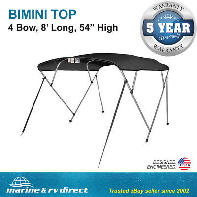 "Bimini Top Boat Cover 4 Bow 54"" H 91"" - 96"" W 8 ft. Long Solution Dye 600D Black"
