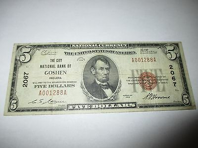 $5 1929 Goshen Indiana IN National Currency Bank Note Bill Ch. #2067 Fine RARE