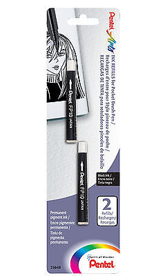Pentel Pocket Permanent Pigment Black Ink Brush Pen FP10 Refills x2