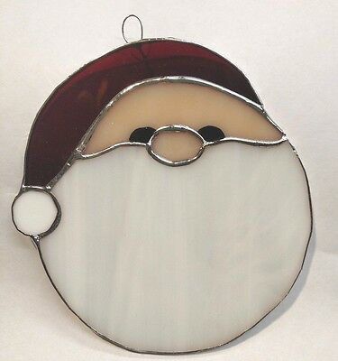 Rolly Polly Stained Glass Santa Christmas Suncatcher