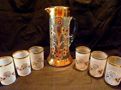 ANTIQUE Victorian GOLD White Satin  ENAMELED GLASS Tankard PITCHER 6 Tumblers