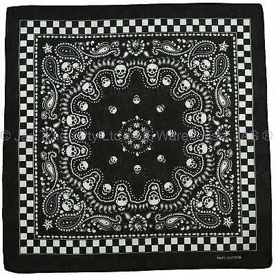 Bandana Cotton Head Wrap Black White Skull Paisley Car Racing Checkered Flag