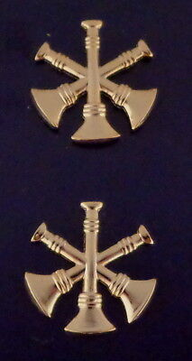 Fire Dept 3 Bugles crossed Deputy Chief 3/4 Gold Pair Collar Pins Rank Insignia