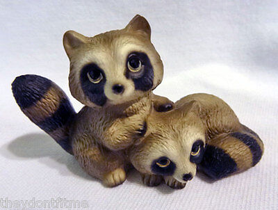 Vintage 1983 Global Art H Knox Porcelain Raccoon Baby Twins Figure Signed #'d