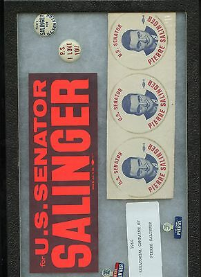 1964 RARE PIERRE SALINGER FOR SENATE COLLECTION (4 stickers, 4 pinback buttons)