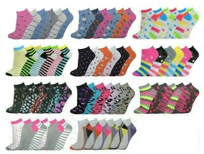 Ladies Trainer Socks Funky Designs Girls Sports Shoe Liners Womens 6 Pairs