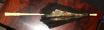 "C:1860s Parasol w/Carved Bone Handle & Tip. 25"" long with Black Lace Outer"