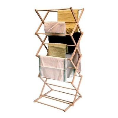Adjustable Traditional Wooden Concertina Folding Clothes Airer Drier 5m Space