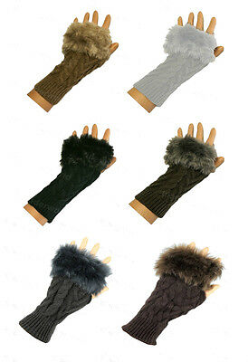 Ladies Fur Trimmed Cable Knit Fingerless Gloves Kit Mitts Mittens Hand Warmer