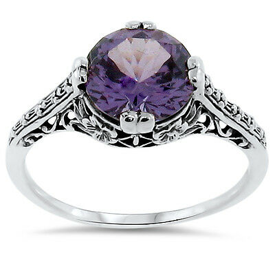 ANTIQUE STYLE 4 Ct COLOR CHANGING LAB ALEXANDRITE .925 SILVER RING Sz 7,    #163