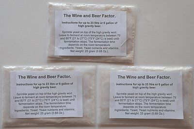 3 packages of turbo yeast for high gravity beers 25 gram (0.88 Oz.) each