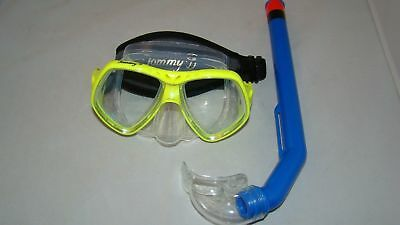 Diving Mask  Yellow W/ Neoprene Strap & Blue Snorkle  Scuba  Wetsuit #90-2